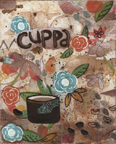 mixed media, acrylics, Vivayne,coffee art in studio, distressed, upcycle