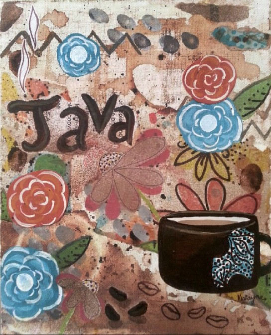 mixed media, acrylics, Vivayne,coffee art in studio, distressed, upcycle