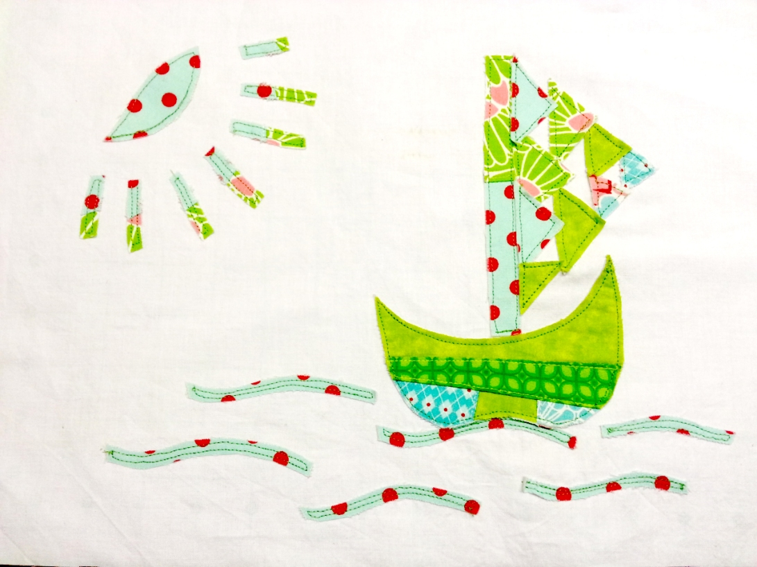 Applique Sail Boat - from scrap fabrics