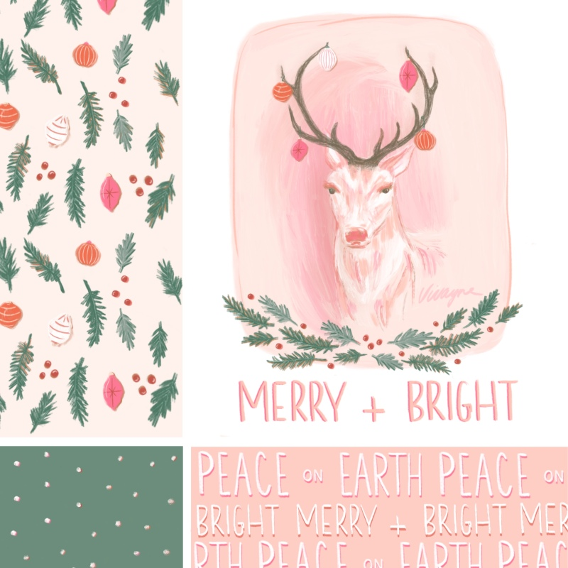 Vivayne merry and bright Christmas stag collection
