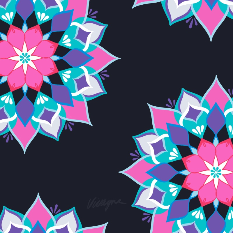 Vivayne mandala floral on trend art licensing & surface pattern design