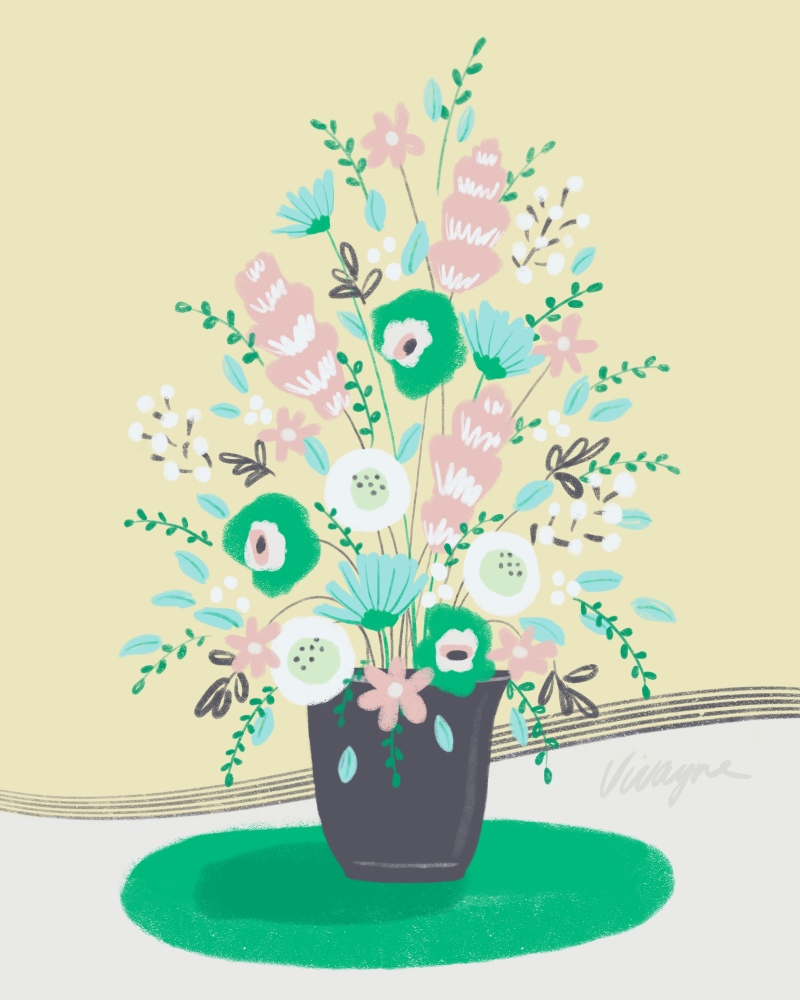 Vivayne green flora vase on trend art licensing & surface pattern design