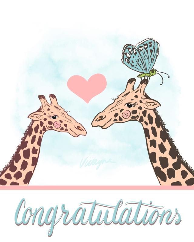 Vivayne giraffe butterfly congratulations pink blue