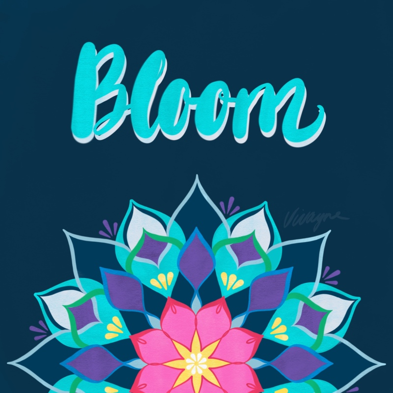 Vivayne bloom blue mandala
