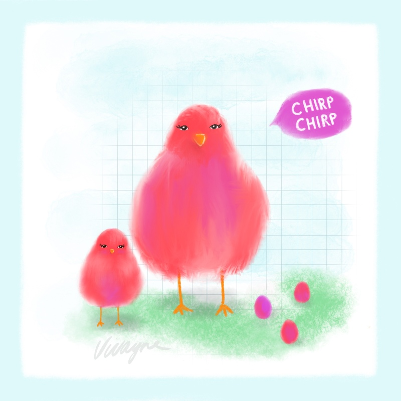 Vivayne chirp chirp pink mother baby birdies