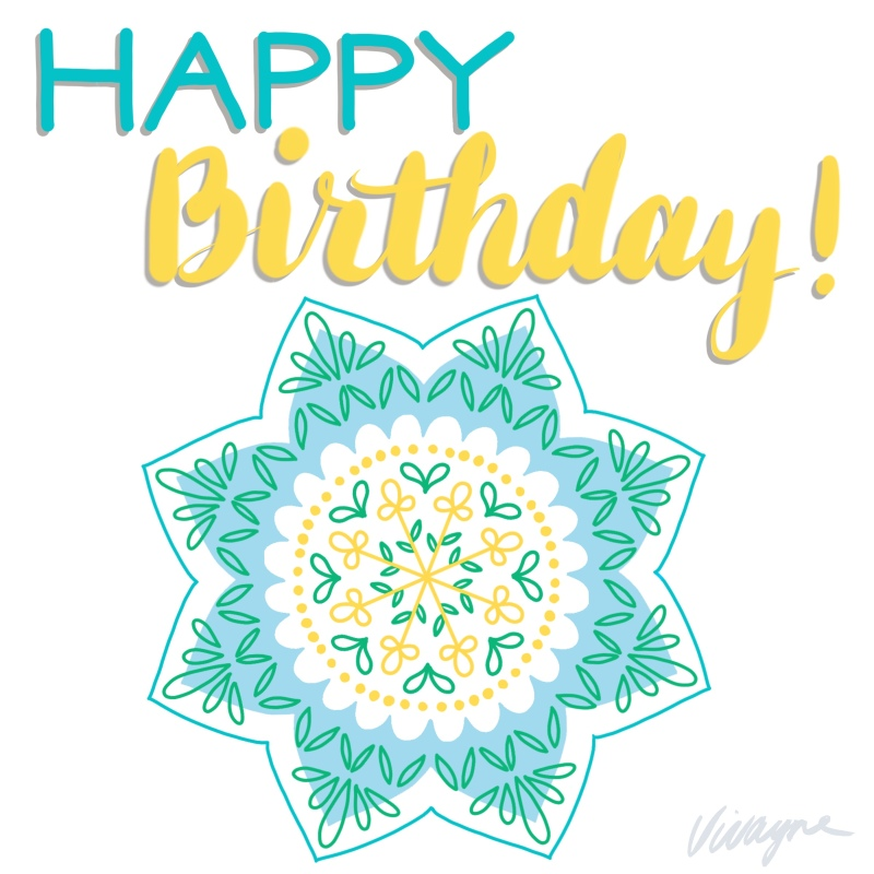 Vivayne happy birthday mandala