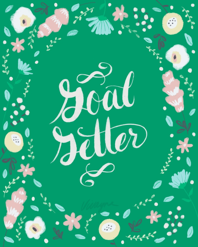 Vivayne green flora goal getter on trend art licensing & surface pattern design
