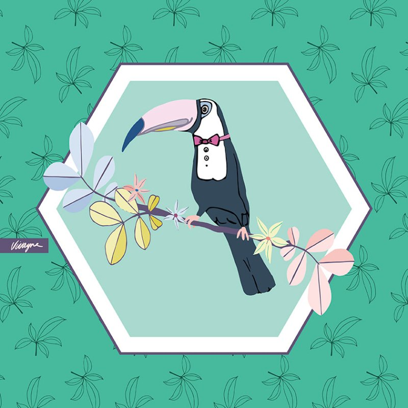 Vivayne Toucan Tropics on trend art licensing & surface pattern design