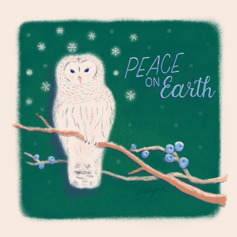 Peaceful winter - white owl